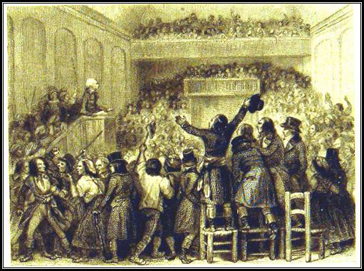 Maximilien ROBESPIERRE, prononce ici le soir du 8 thermidor an II (26  juillet 1794) un discours au Club des Jacobins, où il attaque nommément  COLLOT